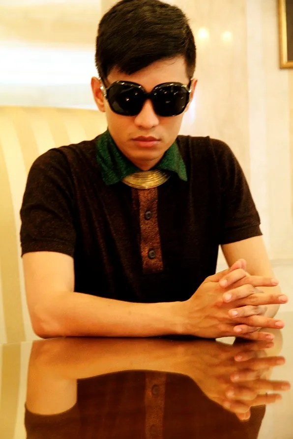 Bryanboy in Prada lurex polo shirt
