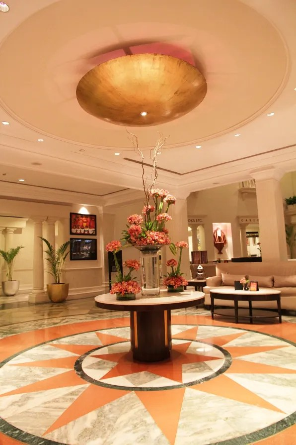 The lobby centerpiece of the Claridges Hotel New Delhi, India