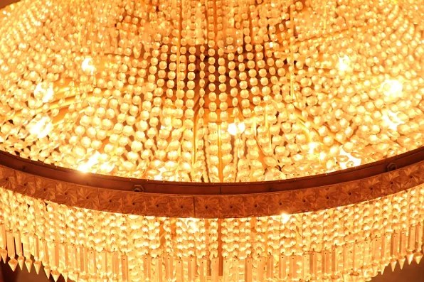 Crystal chandeliers of the Palais des Congres in Marrakesh, Morocco