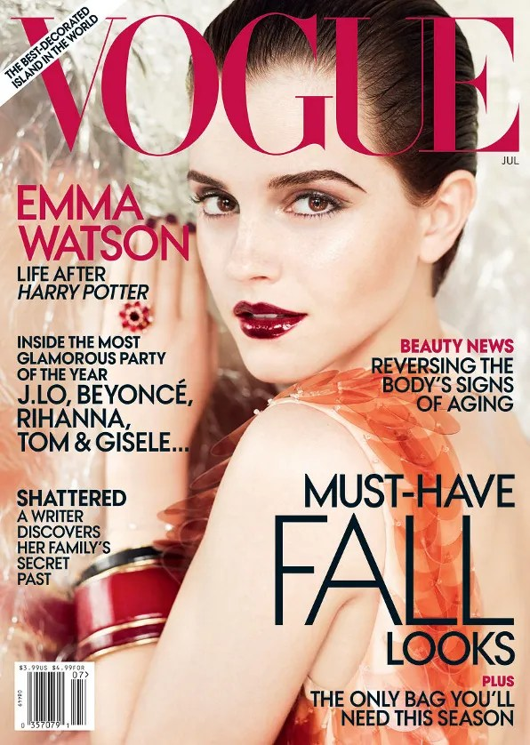 Emma Watson in Prada on the cover of Vogue USA July 2011