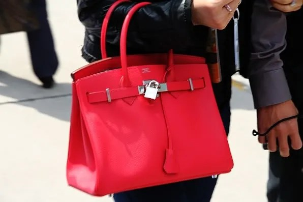 Red Hermes Birkin at Formula 1 Shanghai