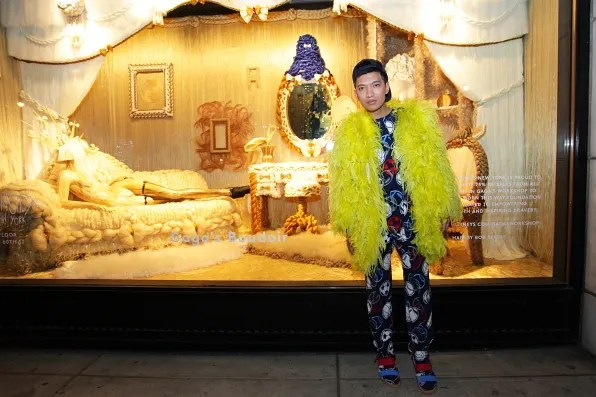 Bryanboy outside Barney's New York Lady Gaga's Workshop hair window display