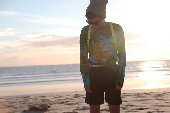 Bryanboy wearing a printed Versace for H&M top in Malibu