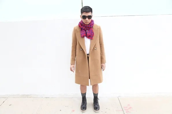 Bryanboy outside the Theory store on Melrose Avenue