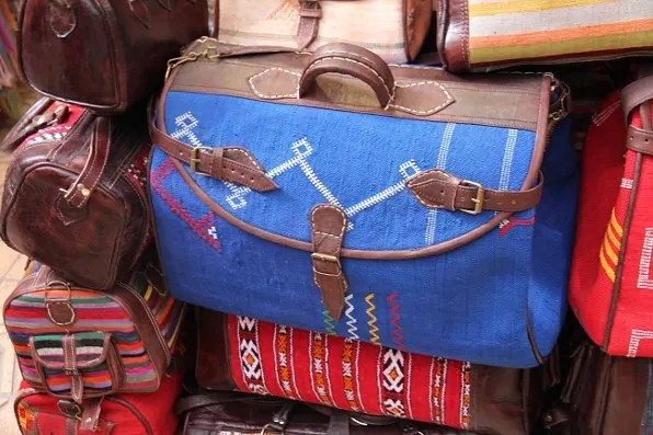 Blue carpet bag