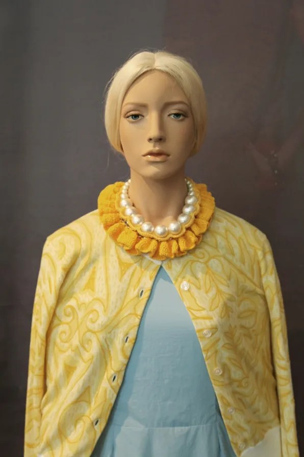 Peter Jensen 'Muses' Exhibition - yellow cardigan