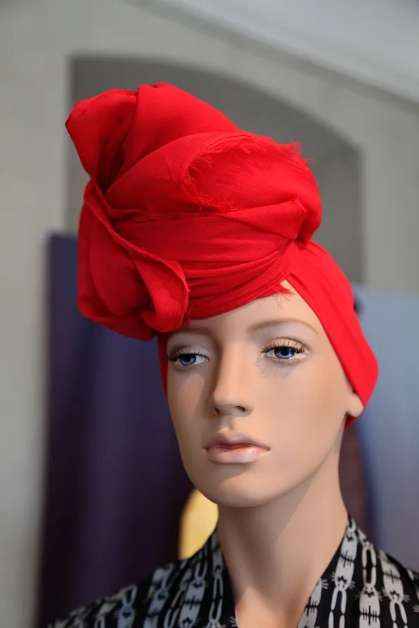 Peter Jensen 'Muses' Exhibition - red turban