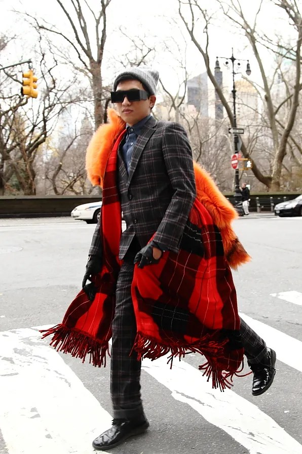 Bryanboy wearing a plaid suit in New York