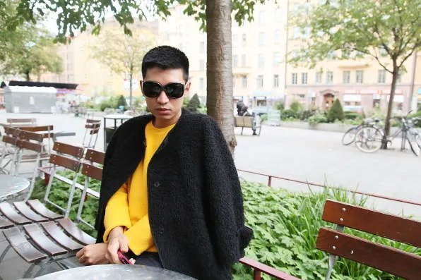 Bryanboy outside Mellqvist cafe in Södermalm