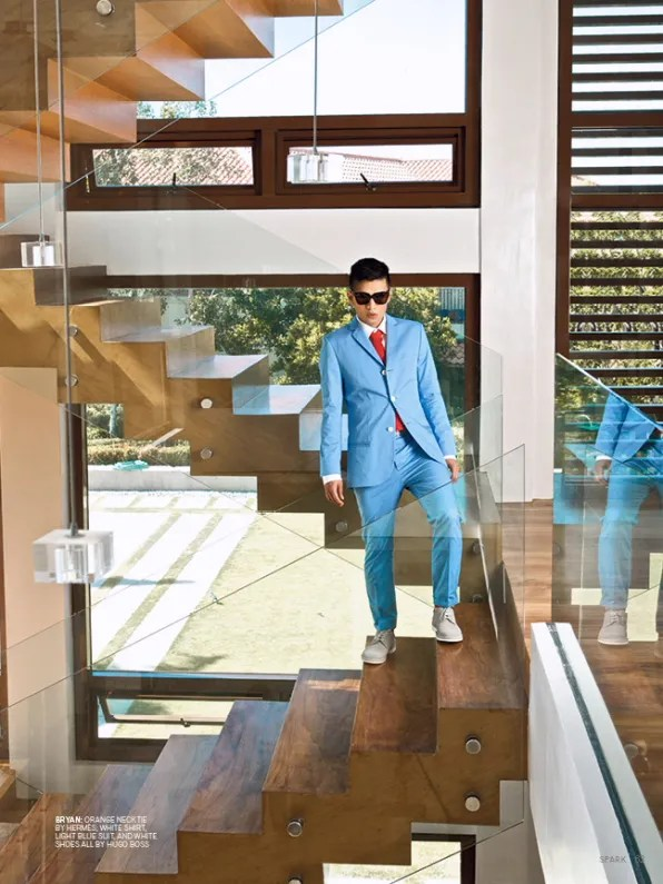 Bryanboy portrait on the stairs for Spark Magazine Philippines