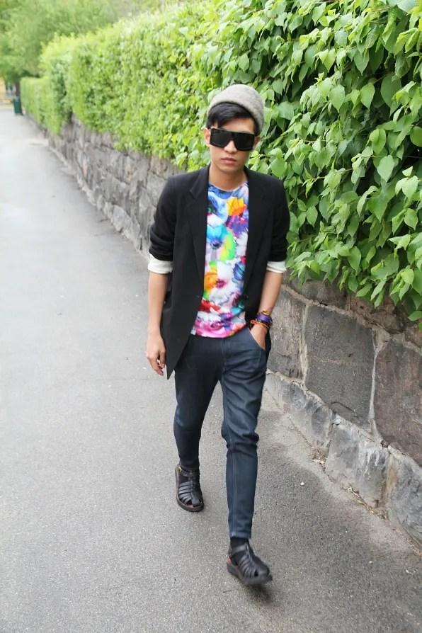 Bryanboy wearing a Jil Sander t-shirt at Sodermalm, Stockholm