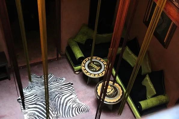 Zebra rug at a cafe in Marrakech