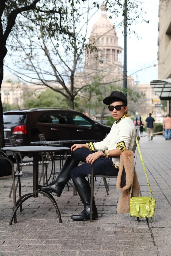 Bryanboy outside Starbucks in Austin