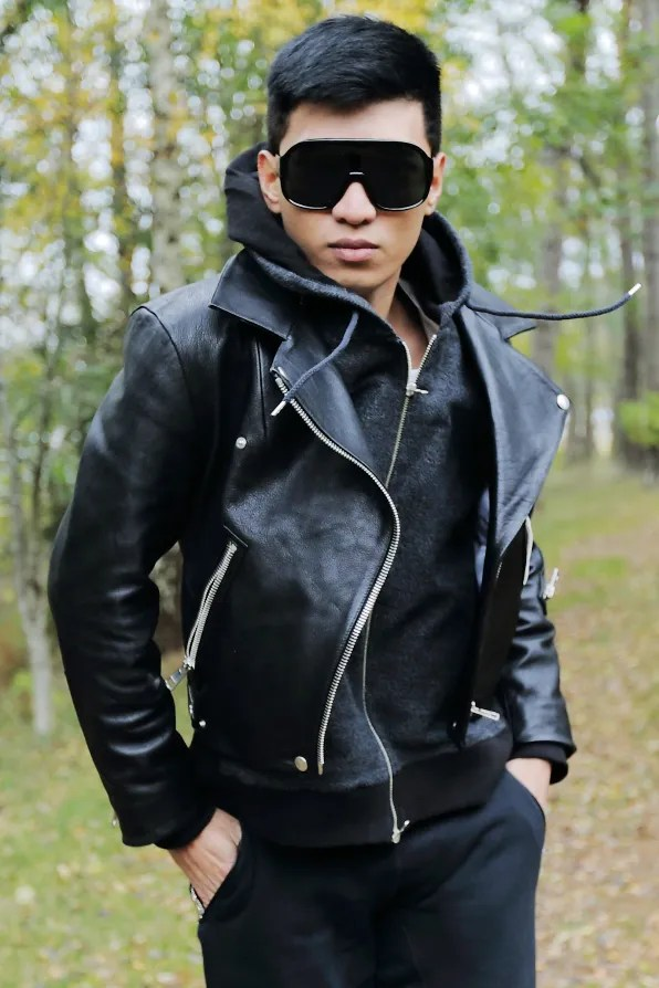 Bryanboy wearing a leather Acne jacket from fall winter 2012