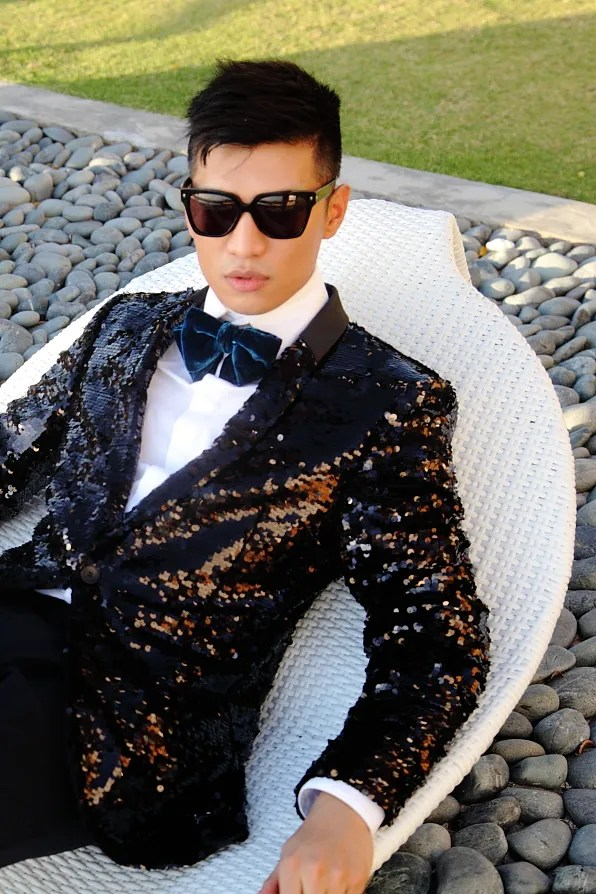 Bryanboy wearing Yves Saint Laurent sunglasses, Tom Ford bow tie