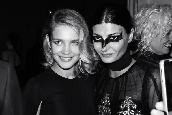 Natalia Vodianova and Giovanna Battaglia at the Carine Roitfeld black-tie 'Le Bal' for MAC Cosmetics