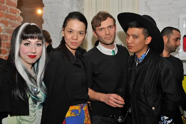 Misha Janette, Ingrid Go, Massimiliano of Claudia Wensch and Bryanboy at Furla, Milan