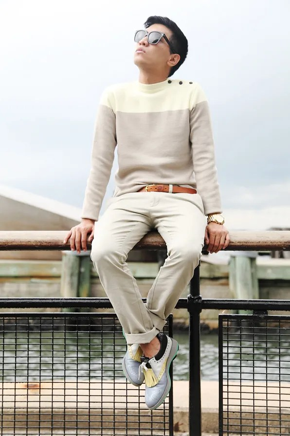 Bryanboy wearing a pastel sweater by The Jante Law