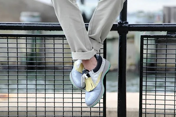 J Crew khaki pants and Prada shoes