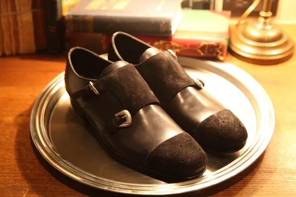 Louis Leeman Paris shoes fall winter 2012 black suede shoes with monk straps