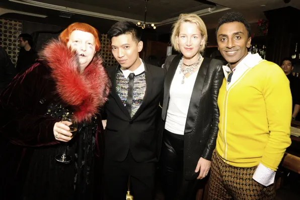 Vogue Magazine's Lynn Yaeger, Bryanboy and Susan Plagemann at the Vogue x Balmain dinner