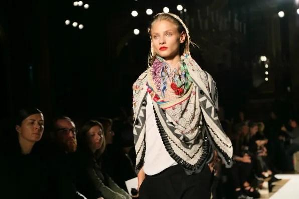 Anna Selezneva wearing a spring summer 2013 Barbara Bui scarf