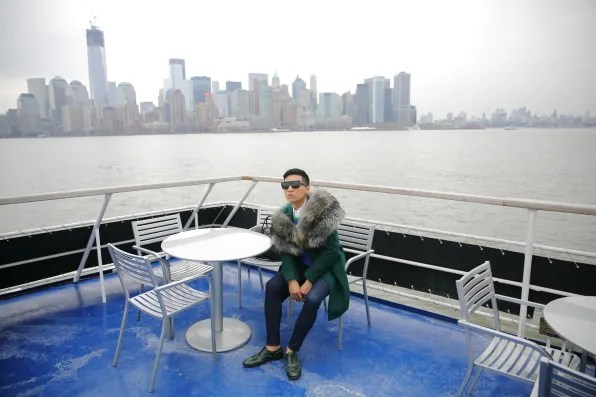 Bryanboy in Adrienne Landau fur shawl aboard Spirit of New York