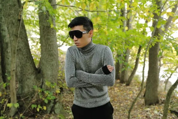 Bryanboy wearing a Versace turtleneck sweater from fall/winter 2012 collection