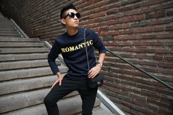 Bryanboy wearing an Acne sweater in Stockholm