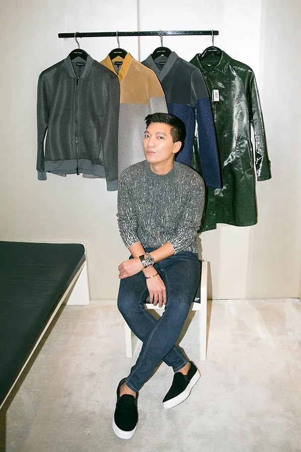 Bryanboy inside his dressing room at the Giorgio Armani Fifth Avenue flagship boutique