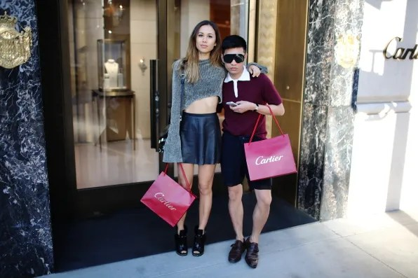 Rumi Neely and Bryanboy outside Cartier, Beverly Hills