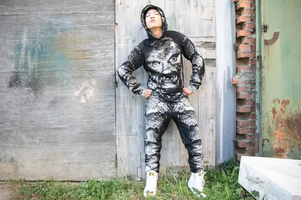 Bryanboy wearing Christopher Kane sweatshirt and fleece trackpants from fall/winter 2013 collection