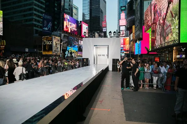 Express white catwalk built in Times Square