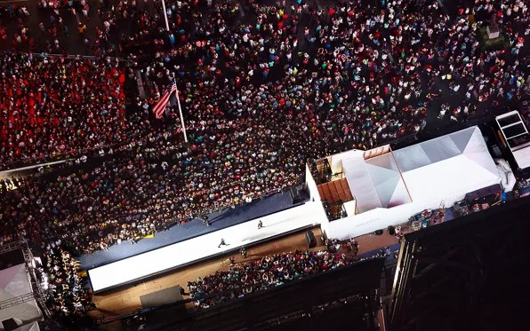 Aerial view of the the Express 'Rock the Sidewalk' fashion show in New York City Times Square