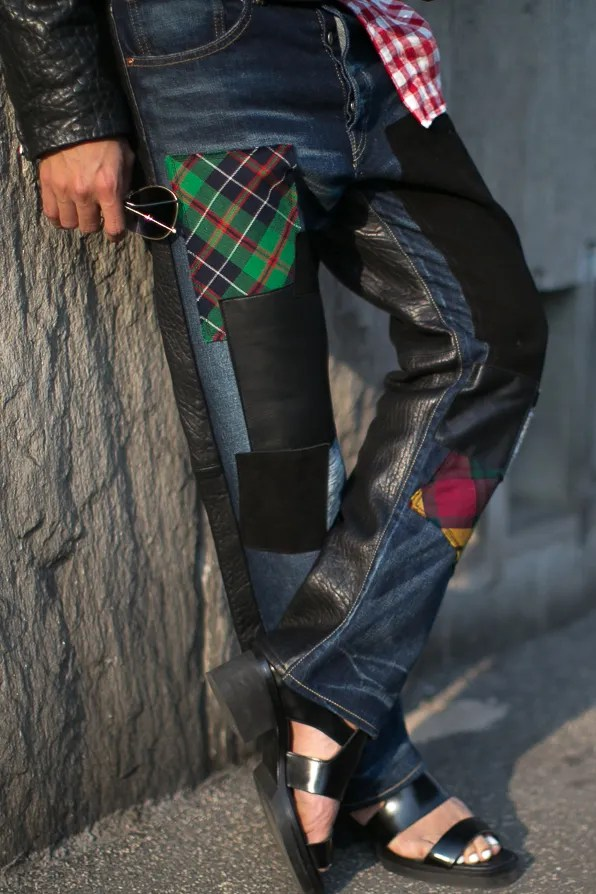 Patchwork denim and leather jeans