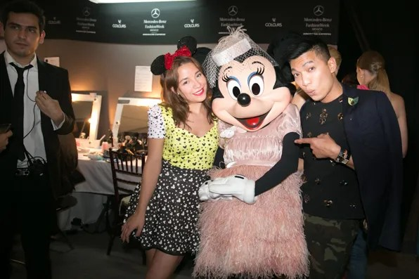 Paola Wong, Minnie Mouse and Bryanboy backstage at Pink Magnolia runway show, Mexico City