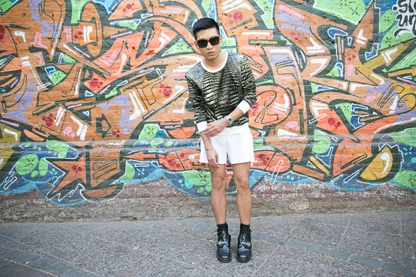 Bryanboy in a green Reed Krakoff alligator print sweater