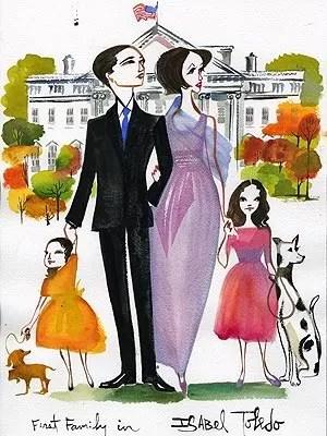 Isabel Toledo dress sketch for Michelle Obama