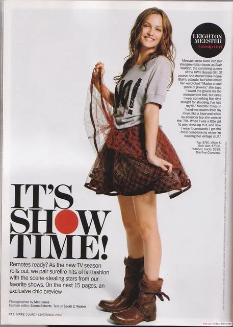 Leighton Meester aka Gossip Girl's Blair Waldorf in Marie Claire Magazine September 2008 issue