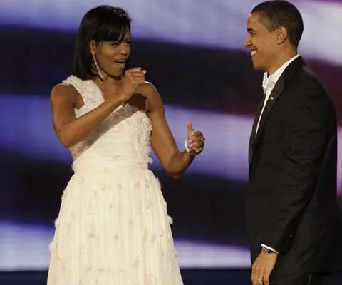 Michelle Obama wore a Jason Wu dress to the Inauguration Ball.