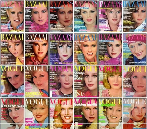 Vintage Magazine Covers - Harper's Bazaar 1981 and Vogue 1976.