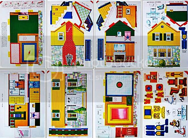 PAPERMAU Vintage Doll House Paper Model With Furniture - by Bonnie