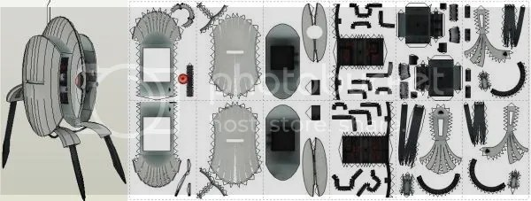 PAPERMAU Portal - Machine Gun Turret Paper Model - by MooNFish\u0027s