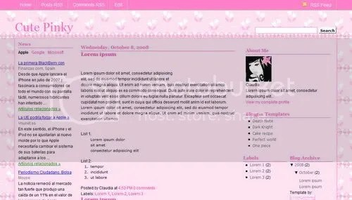 Free Blogger Templates For You Cute Pinky Template - free cute blogger templates
