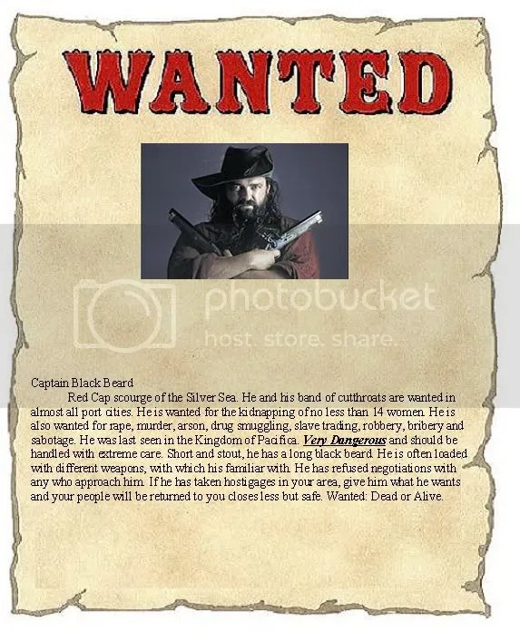 Blackbeard Wanted Poster - example of a wanted poster