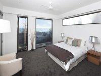Modern bedroom design idea with carpet & floor-to-ceiling ...