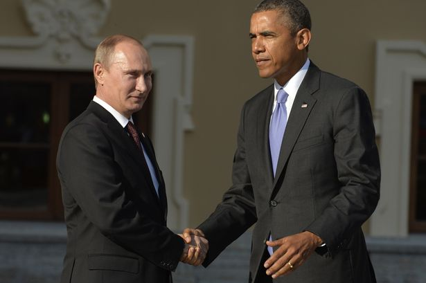 Russias President Vladimir Putin welcomes US President Barack Obama