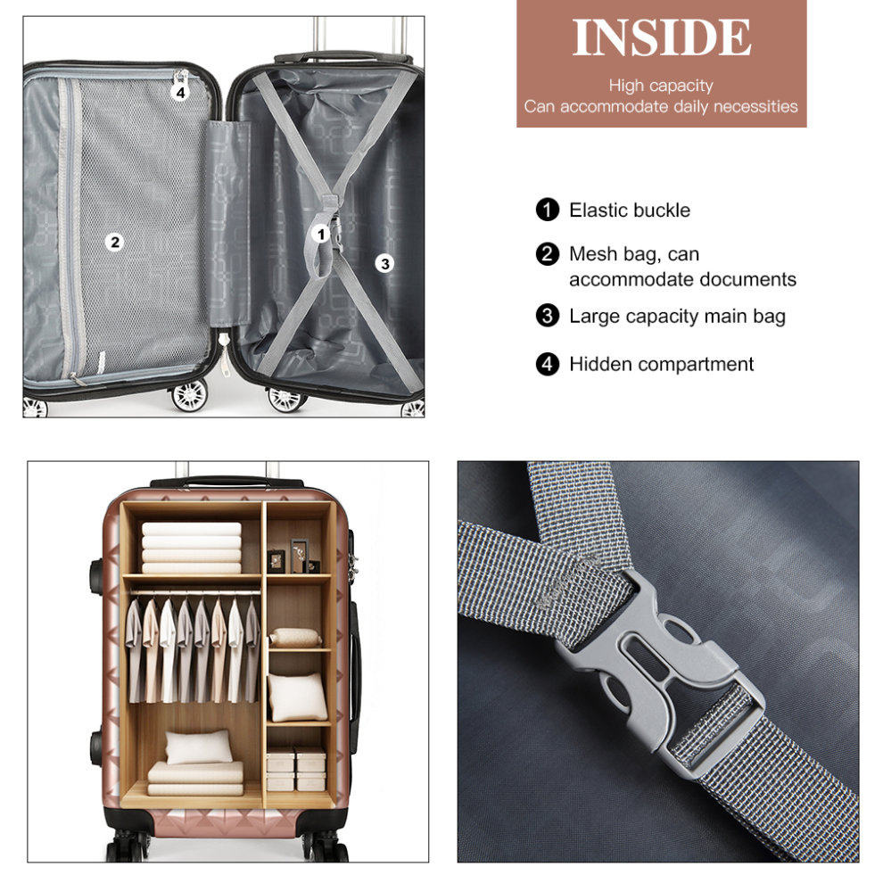 Lightweight Cabin Luggage Kono Lightweight Cabin Hand Luggage Travel Carry On Suitcase Trolley Case Bag Diamond Shape Pc Abs Hard Shell 20