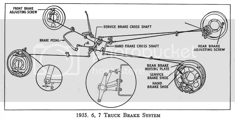 1935 1936 1937 Ford Truck and Commercial Brake Part Illustrated