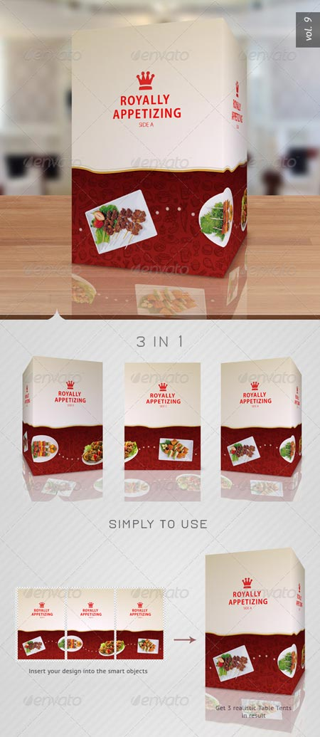 GraphicRiver Paper Table Tent Mock-up Template Vol 9 » Free Download - tri fold table tent